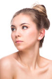 Beautiful Young Woman isolated on a White Background. Touching Her Face. Fresh Clean Skin. royalty free stock images