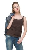 Beautiful Young Woman with Jacket over Shoulder Royalty Free Stock Photography