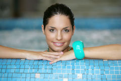Beautiful young woman at a jacuzzi stock photography