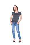 Beautiful young woman in jeans and tshirt stock photos
