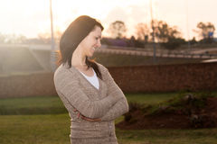 Beautiful young woman with a jersey Stock Photography
