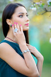 Beautiful young woman with jewelry luxury accessory. Spring coll Royalty Free Stock Image