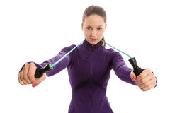 Beautiful young woman with jump rope around neck Stock Images