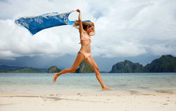 Beautiful young woman jumping Royalty Free Stock Image