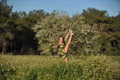 Beautiful young woman jumping in blooming meadow Royalty Free Stock Photo