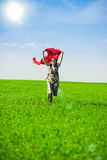 Beautiful young woman jumping on a green meadow Stock Photos