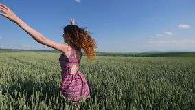 Beautiful Young Woman jumping on green wheat field stock footage