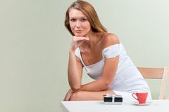 Beautiful young woman just received present Stock Image