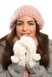 Beautiful young woman keeping warm in winter wool Royalty Free Stock Photo