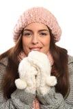 Beautiful young woman keeping warm in winter wool Royalty Free Stock Photo