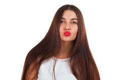 Beautiful young woman kiss. Red lips Stock Photo