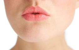 Beautiful young woman with kissing lips Royalty Free Stock Photography