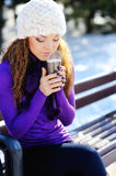 Beautiful young woman in knitted hat and sweater Royalty Free Stock Photos