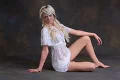 Beautiful young woman in lace dress Royalty Free Stock Photography