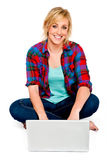 Beautiful Young Woman With Laptop Stock Photography