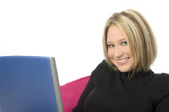 Beautiful Young Woman with Laptop Computer Stock Image