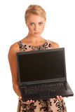 Beautiful young woman with laptop Royalty Free Stock Images