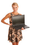 Beautiful young woman with laptop Stock Image