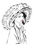 Beautiful young woman with large luxury hat. Fashion sketch. Fashion girls face. Hand-drawn fashion model. Woman face. On a white background. Summer time vector illustration