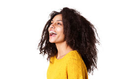 Beautiful young woman laughing on white background Royalty Free Stock Images