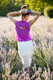 Beautiful young woman on lavander field - lavanda girl Stock Images