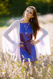 Beautiful young woman on lavander field - lavanda girl Royalty Free Stock Image
