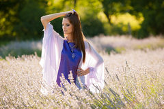 Beautiful young woman on lavander field - lavanda girl Royalty Free Stock Photos