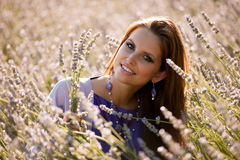 Beautiful young woman on lavander field - lavanda girl Royalty Free Stock Images