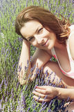 Beautiful young woman in the lavender field Royalty Free Stock Images