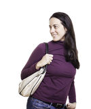 Beautiful young woman with a leather bag Stock Photos