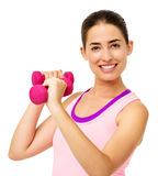 Beautiful Young Woman Lifting Dumbbells Royalty Free Stock Photo