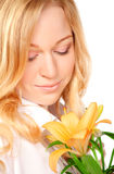 Beautiful Young Woman With Lily Flower Royalty Free Stock Images