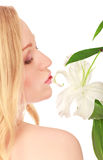 Beautiful Young Woman With Lily Flower Royalty Free Stock Image