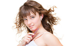 Beautiful young woman listening music Royalty Free Stock Photography
