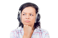 Beautiful Young Woman Listening Music with Headphones Royalty Free Stock Image