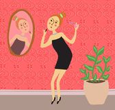 Beautiful young woman in a little black dress paints lips near the mirror. Will go to the party stock illustration