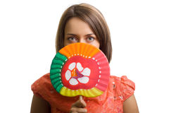 Beautiful young woman with a lollipop Stock Images