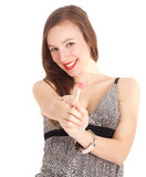 Beautiful young woman with lollipop Royalty Free Stock Image