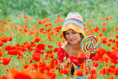 Beautiful young woman with lollipop Royalty Free Stock Images