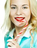 Beautiful young woman with lollipop Stock Photography