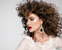 Beautiful young woman with long brown hair, red lips,jewellery in wedding dress Pretty model poses at studio. Stock Photography