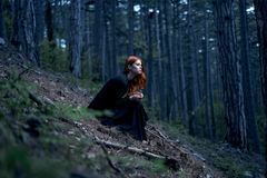 Beautiful young woman in a long dress in the forest.  Royalty Free Stock Images
