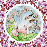 Beautiful young woman with long green hair saves a baby bird that has fallen from the nest against spring trees in blossom. Seasonal watercolor illustration stock illustration
