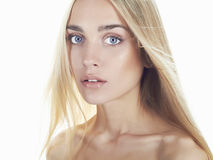 Beautiful young woman with long hair.Blonde girl Stock Images