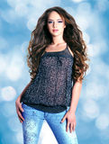 Beautiful young woman  with long hairs Stock Photo
