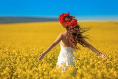 Beautiful young woman with long healthy hair over Yellow rape field landscape background. Attracive brunette girl with red poppy royalty free stock image