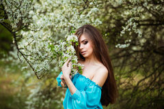 Beautiful young woman with long healthy hair relaxing at blossom park. Royalty Free Stock Photography