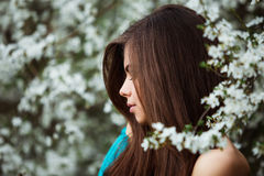 Beautiful young woman with long healthy hair relaxing at blossom park. Royalty Free Stock Images