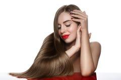 Girl with beautiful long hair stock image