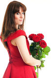 A woman with a red rose Royalty Free Stock Photography